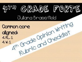 4th Grade SAGE Opinion Writing Rubric and Student Checklist