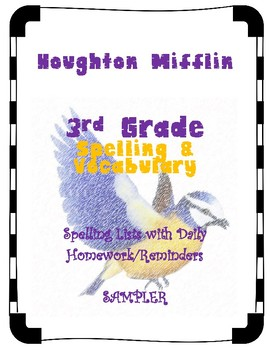 3rd Grade SAMPLER Spelling/Vocabulary Lists Aligned with Houghton Mifflin