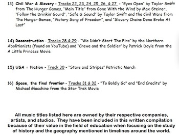 4th Grade SC Music History Timeline Song Playlist