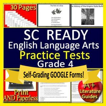 4th Grade SC READY ELA Test Prep: Printable +  Google™ Distance Learning
