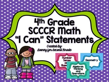 "4th Grade SCCCR Math ""I Can"" Statements"
