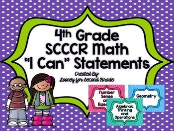 "4th Grade SCCCR Math ""I Can"" Statements"