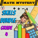 4th Grade SKILLS Math Mystery Bundle