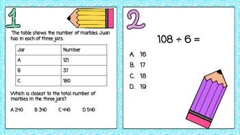 4th Grade SOL Math Test Prep Cards