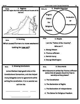 4th Grade SOL Virginia Studies Spiral Reivew # 13