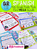 4th Grade SPANISH Math Task Cards with QR Codes Bundle