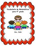 4th Grade SPANISH Math Word Wall/ Vocabulario de Matematicas en espanol