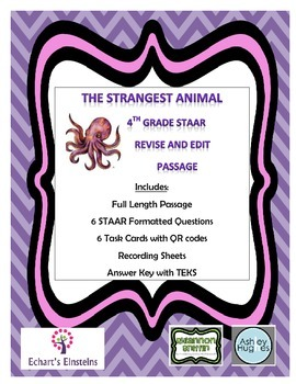 4th Grade STAAR Aligned Revise and Edit Task Cards with QR Codes