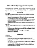 4th Grade STAAR Editing and Revision Practice Personal Narrative