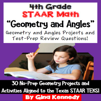 4th Grade STAAR Math Geometry & Angles, 30 Enrichment Projects & 30 Problems