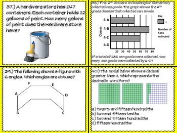 4th Grade STAAR MATH TASK CARDS- SET #1