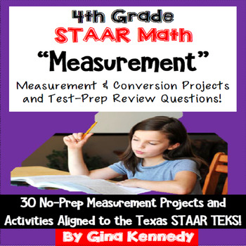 4th Grade STAAR Math Measurement Conversions Enrichment Projects & Problems