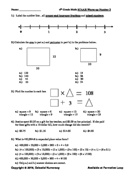 4th Grade STAAR Math Preps - Spring - 2016 (Free)