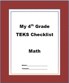 4th Grade Staar Math Teks Checklist New Texas Math Standards Tpt