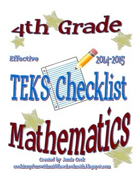 4th Grade STAAR Math TEKS Checklist (with new TEKS effective 2014-2015)