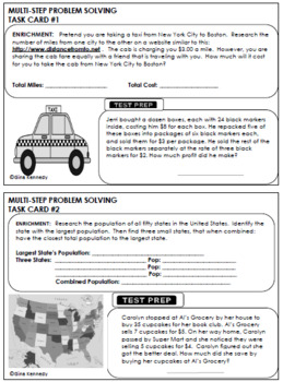 4th Grade STAAR Math Multi-step Word Problems, Enrichment Projects and Problems