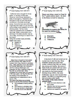 4th Grade STAAR Reading Skills Task Cards, 36 Nonfiction ...