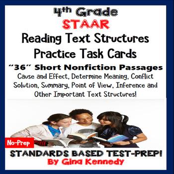 4th Grade STAAR Reading Skills Task Cards, 30 Short Passag