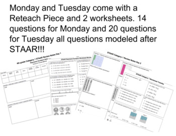 4th Grade STAAR REVIEW Representing Numbers Category 1 Full Week Lesson Plan