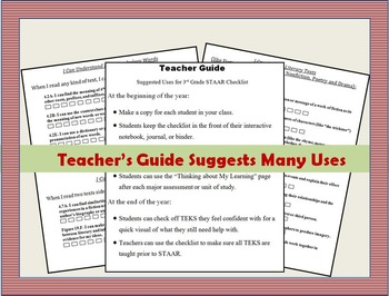 4th Grade STAAR Reading Checklist