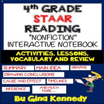 4th Grade STAAR Reading Interactive Notebook! Passages, Activities & More!
