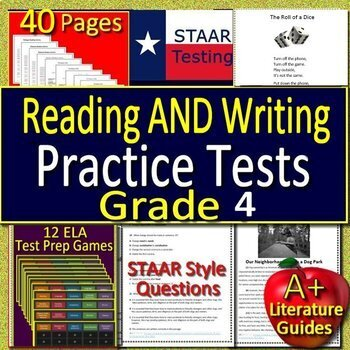 4th Grade STAAR Writing, STAAR Reading Practice Tests AND 12 ELA Test Prep Games