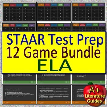 4th Grade STAAR Writing, STAAR Reading Practice Tests, AND 16 Games Bundle