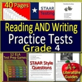 4th Grade STAAR Writing and Reading Practice Tests, AND 16 Games Bundle