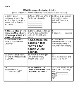 4th Grade STAAR Reference Materials Activity