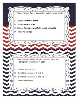 4th Grade STAAR Revise and Edit Passage - Texas Our Texas