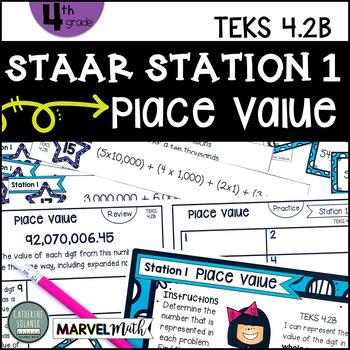 4th Grade STAAR STATION 1: PLACE VALUE TEKS 4.2B Math Center