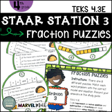 4th Grade STAAR STATION 3: FRACTIONS PUZZLES TEKS 4.3E Math Center