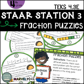 4th Grade Staar Station 3 Fractions Puzzles Teks 43e Math Center