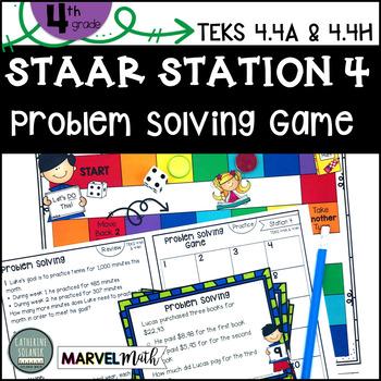 4th Grade STAAR STATION 4: PROBLEM SOLVING TEKS 4.4A 4.4H Math Center
