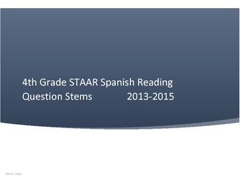 4th Grade STAAR Spanish Reading Questions by TEK 2013-2015