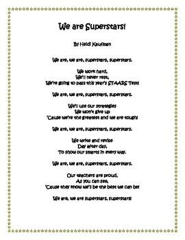 4th Grade STAAR Superstar Writing Chant