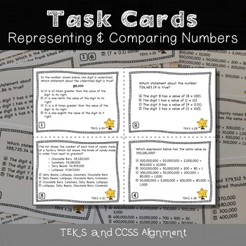 4th Grade STAAR TASK CARDS {Representing & Comparing Numbers} TEKS 4.2ABCDE