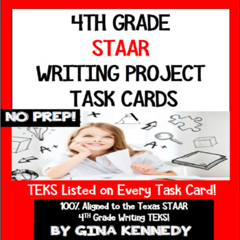 4th Grade STAAR Writing Prompt Task Cards, Creative and Fun!