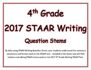 4th Grade STAAR Writing Question Stem Cards