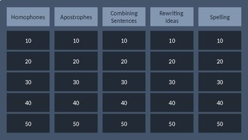 4th Grade STAAR Writing Review Jeopardy Bundle Tier 1,2,3