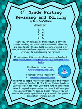 Daily Practice-Transition Freebie-STAAR Writing Revising and Editing