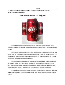4th Grade STAAR Writing Revising and Editing Passage Revise & Edit - Dr. Pepper