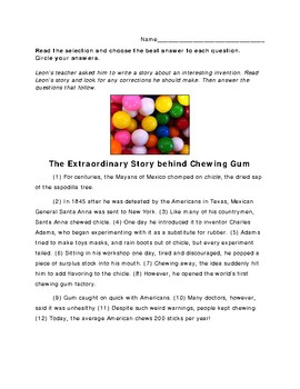 4th Grade STAAR Writing Revising and Editing Passage Revise & Edit - Gum
