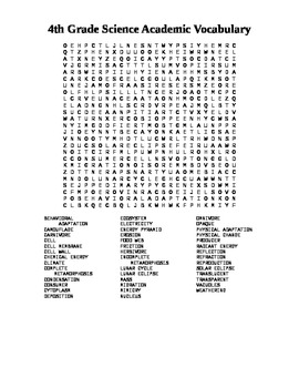 4th Grade Science Academic Vocabulary Word Search