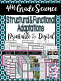 4th Grade Science: Structural & Functional Adaptations / Printable & Digital