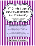 4th Grade Science Bundle: Assessments and Vocabulary Cards