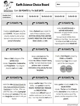 4th Grade Science Choice Boards  **EDITABLE**