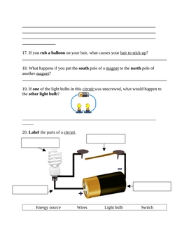 4th Grade Science-Electricity Test and Study Guide