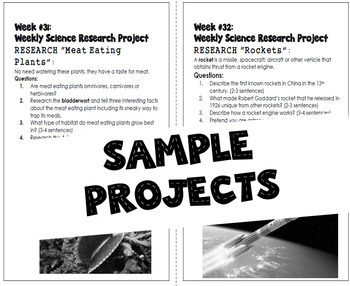 4th Grade Science Projects, Weekly Research Projects All Year!