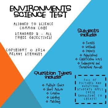 4th Grade Science Utah Environments Unit Test